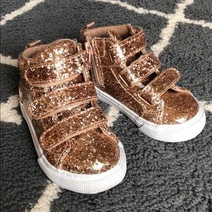 Gap Toddler Girls Glitter Rose Gold Sneakers Sz 7